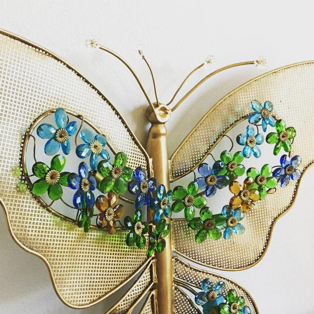 Stunning and RARE oversize 1950s Italian gilt butterfly wall light featuring crystal-accented antennae and pierced...