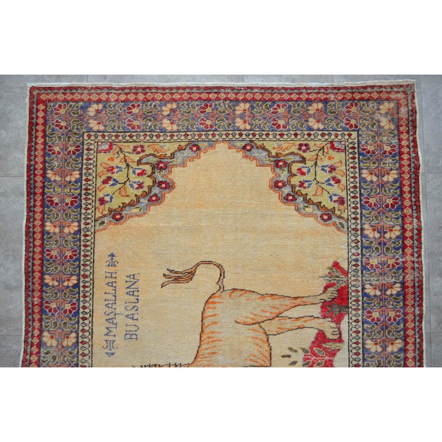 """Antique Turkish Rug Lion Pattern Hand Knotted SuperLow Pile Wool Wall & Area Rug Rare Piece- 4'1"""" X 6' For Sale In Raleigh - Image 6 of 11"""