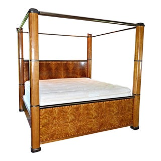 """Henredon """"Splendour"""" Contemporary Art Deco Poster Bed With Book-Matched Burl Wood Head/Footboard For Sale"""