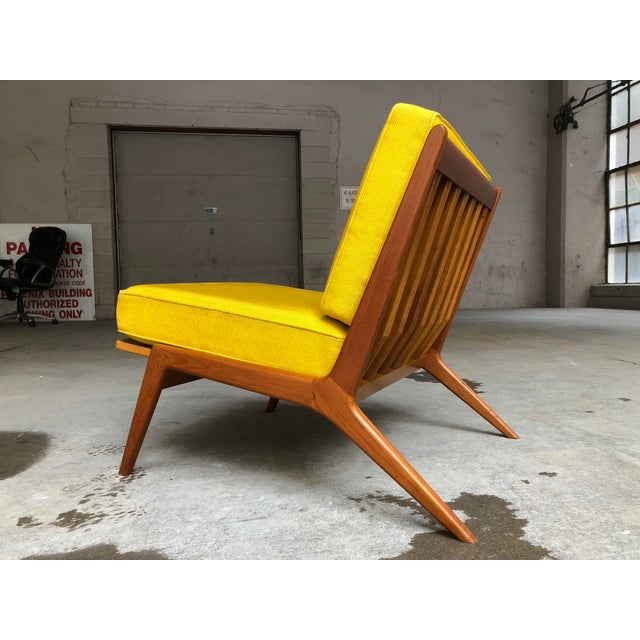 1960s Mid Century Danish Modern Ib Kofod-Larsen for Selig Teak Lounge Chair Yellow Cushions For Sale - Image 5 of 7