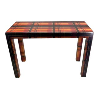 Pop Art Resin Laminated Colorful Plaid Console Table For Sale