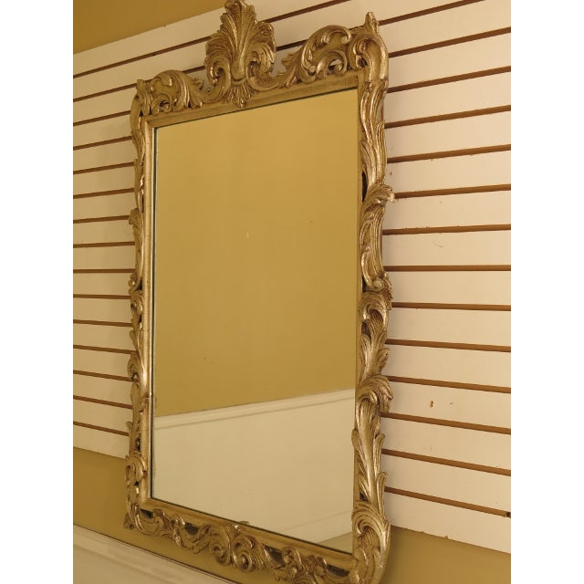 French Louis XV Style Silver Decorated Wood Framed Mirror Age: Approx: 20 Years Old Details: High Quality Construction...