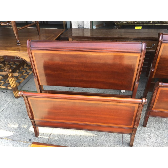 Wood Pair Of Drexel Hampshire Twin Beds with rails For Sale - Image 7 of 8