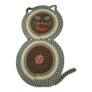 American Folk Art Braided Rug in the Form of a Cat