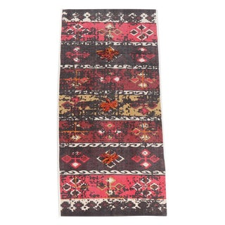 Colorful Tribal Embroidered 'Poms' Cotton Runner Rug - 2′ × 6′ For Sale