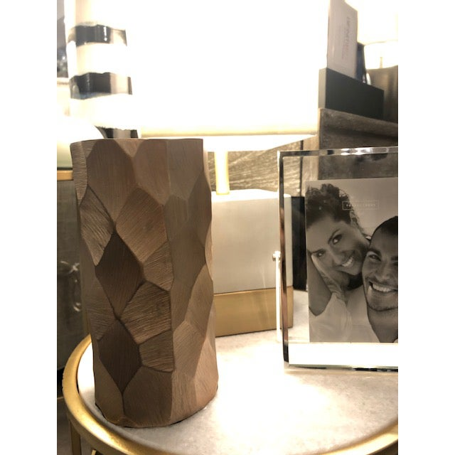 """Go bold with this dramatic chiseled aluminum piece! Pair it with the larger 12.75""""h vase to really create a WOW! factor..."""