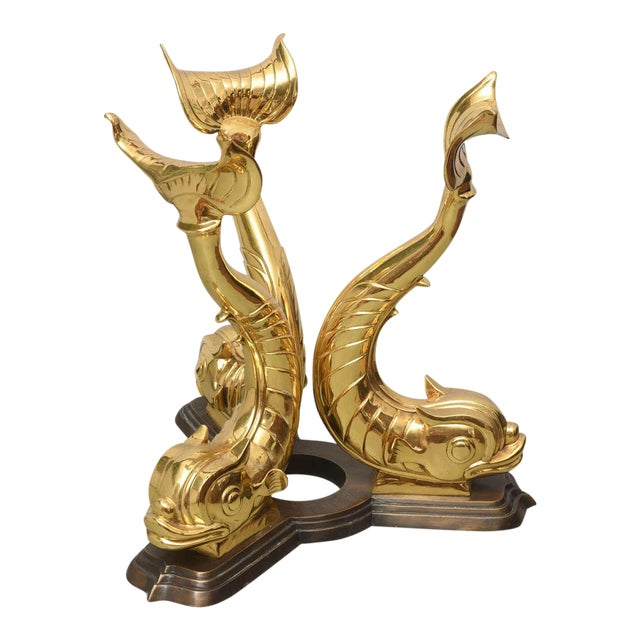 Italian Brass Koi Fish Sculptural Table Bases, 1960s, Italy For Sale