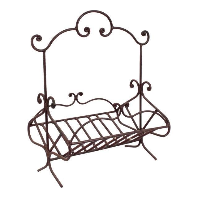 Antique French Wrought Iron Log Holder For Sale