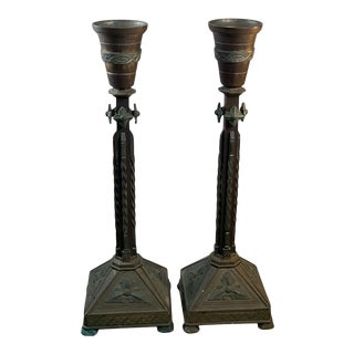 Early 20th Century Bronze Gothic Candlesticks - a Pair For Sale