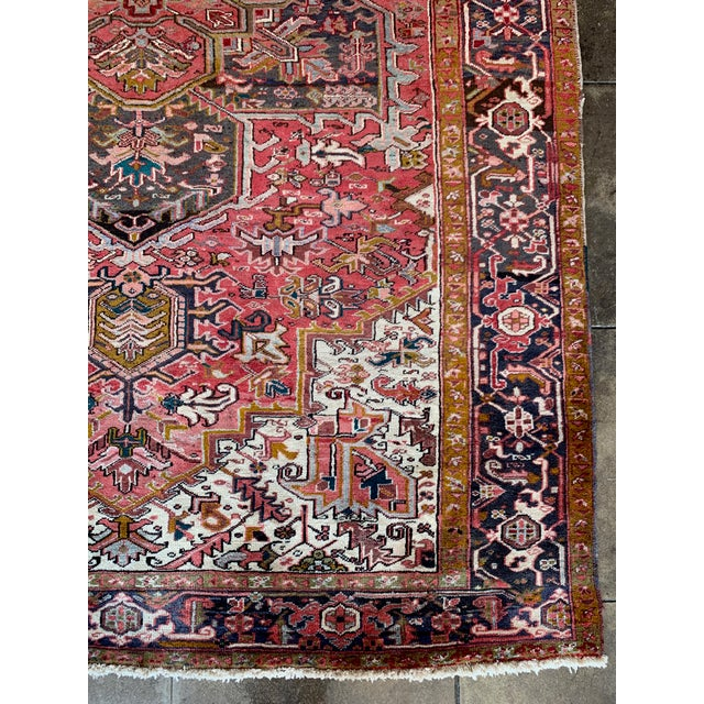 "Textile 1940s Persian Heriz Rug 11' 10"" X 7'4"" For Sale - Image 7 of 9"