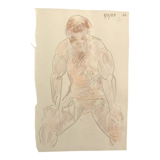 1997 Hunched Over Male Nude Life Drawing For Sale