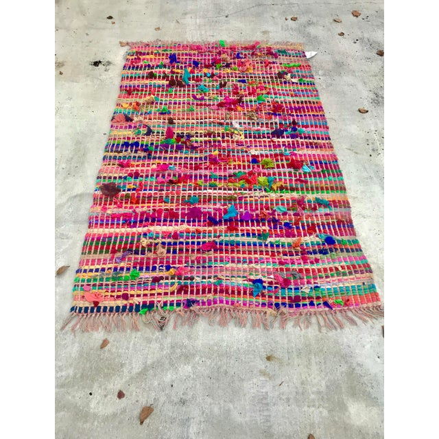 Boho Chic Indian Multicolor Rug - 4′ × 6′ For Sale - Image 3 of 11