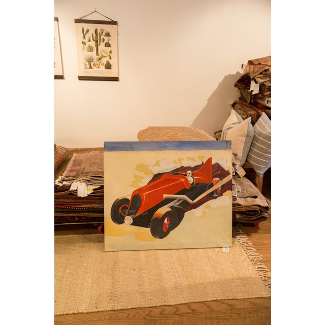 Vintage 1940s Folk Art Race Car Painting For Sale In New York - Image 6 of 7