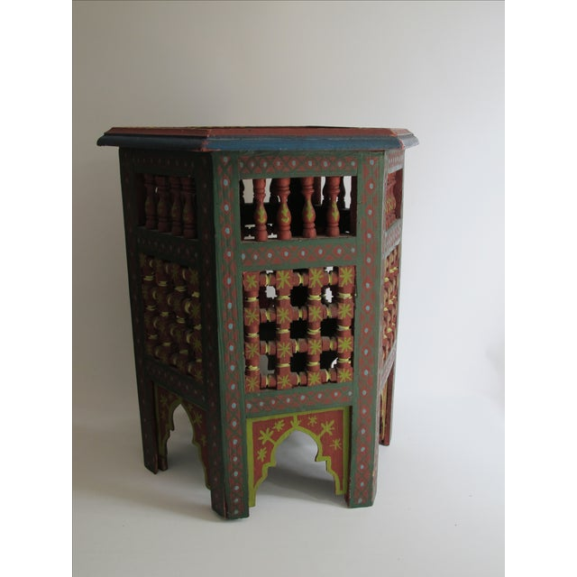 Moroccan Green & Red Carved Wood Side Table For Sale - Image 4 of 9