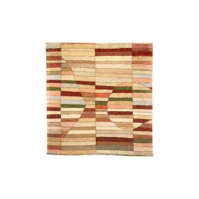 Geometric Art Deco Style Square Wool Gaba Rug For Sale In Los Angeles - Image 6 of 6