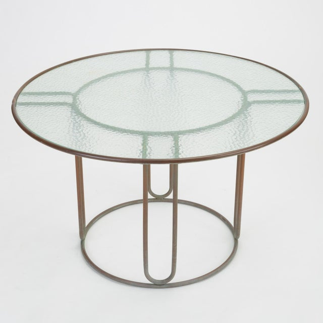 Brown Jordan Round Patio Table With Oxidized Bronze Frame by Walter Lamb for Brown Jordan For Sale - Image 4 of 13
