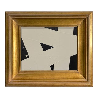 Ron Giusti Mini Abstract Black and Cream Acrylic Painting, Framed For Sale