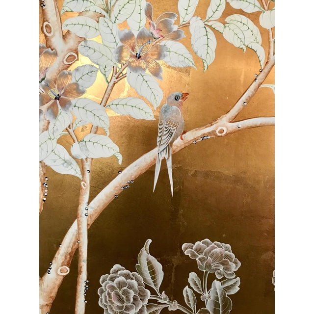 Mid 20th Century Chinoiserie Old Handpainted Wallpaper Panel, Mounted on Foam Core For Sale - Image 5 of 8