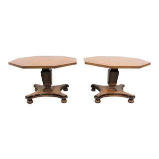 Regecny Style Cherry Taborette Tables - a Pair