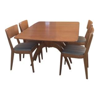 Vintage Heywood-Wakefield Drop Leaf Extension Dining Table & Chairs