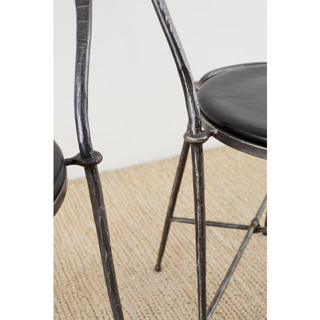 Black Pair of Giovanni Banci Midcentury Sculptural Iron Chairs For Sale - Image 8 of 13