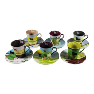 El Toro De Osborne 'The Osborne Bull of Spain' Espresso Cups and Saucers - Set of 6 For Sale