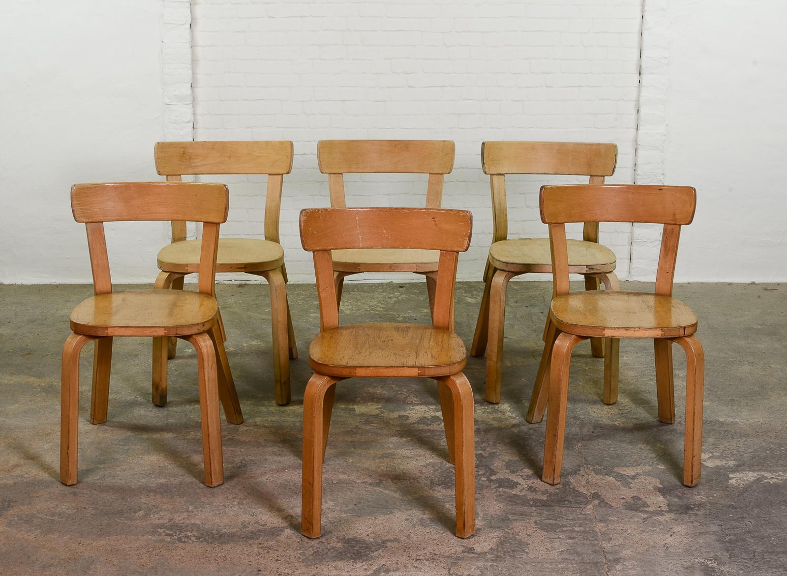 Mid Century Alvar Aalto Chairs 69 For Artek U2013 Set Of 6   Image 2