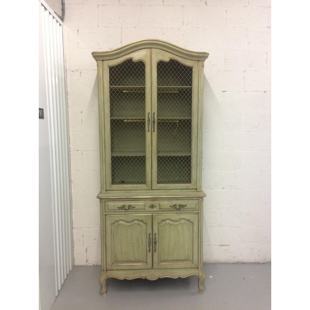 Green 1960s French Provincial Stepback Cupboard With Wire Mesh For Sale - Image 8 of 8