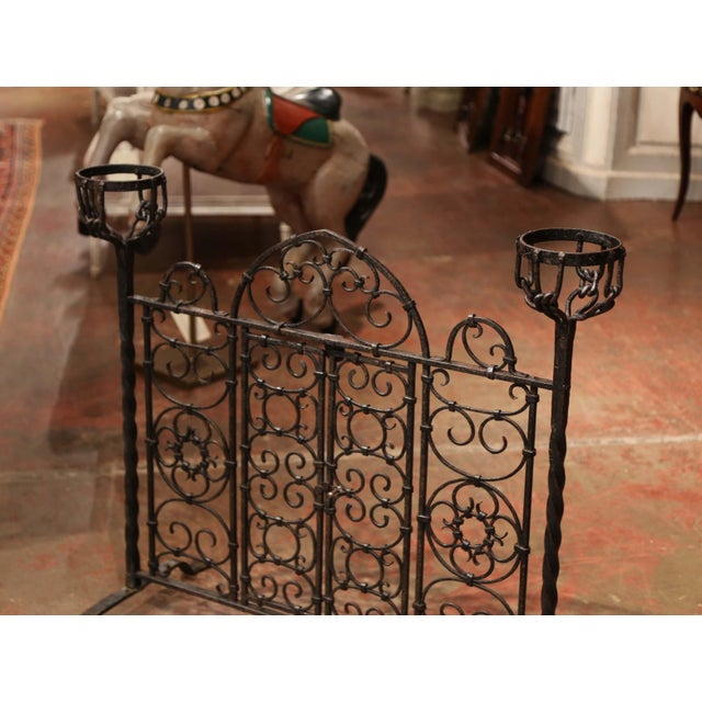Decorate your fireplace with this intricate, antique Gothic screen. Crafted in France circa 1850, the beautiful, forged...