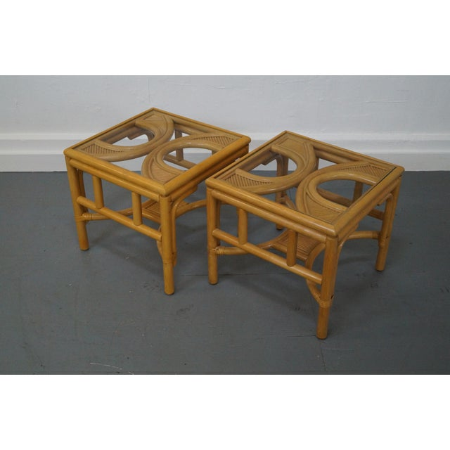 Boho Chic Rattan Bamboo Square Glass Top Low Tables - Pair For Sale - Image 3 of 9
