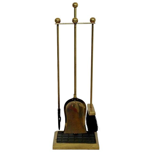 1960s Mid-Century Modern Brass Shovel Poker Brush Fireplace Tools For Sale