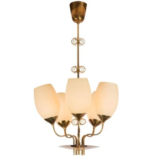 1950s Paavo Tynell for Taito Oy 5-Glass Chandelier