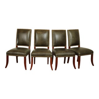 Ethan Allen Faux Reptile Green Leather Dining Chairs - Set of 4 For Sale