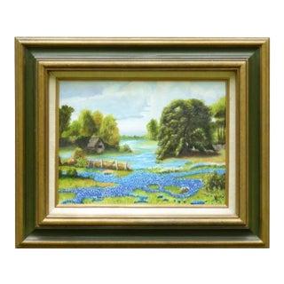 1960s Vintage Texas Countryside Bluebonnet Landscape Original Oil Painting For Sale
