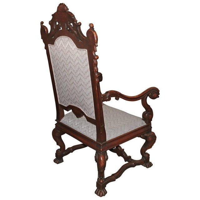 Spanish Hand-Carved Wood With 24-Karat Gold-Plated Bronze Emblem Kings Chair - Image 5 of 11