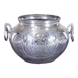 Early 20th Century Spanish Colonial Plata Fina Silver Jar For Sale