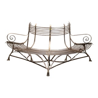 French Polished Iron Curved Around the Tree Shaped Garden Bench