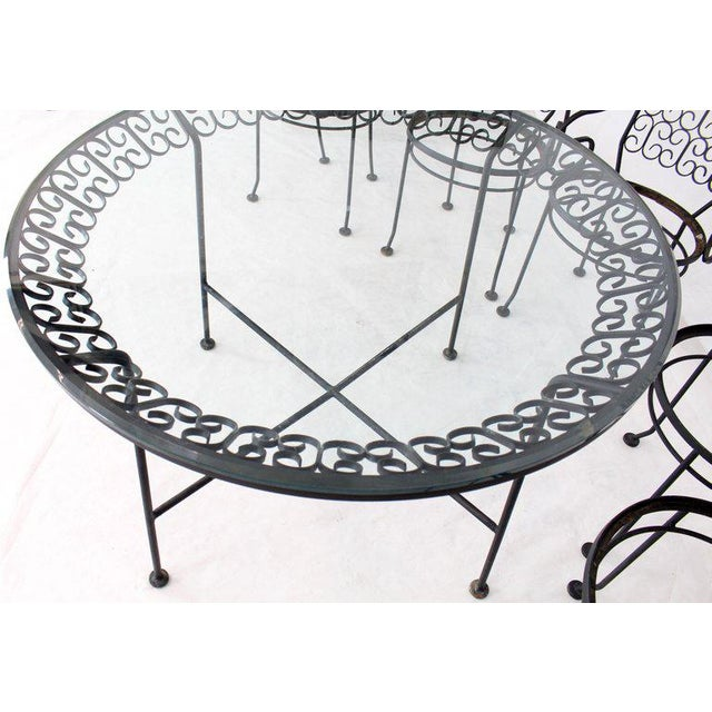 Outdoor Set of Six Armchairs With Glass Top Table, Salterini Attributed For Sale In New York - Image 6 of 10