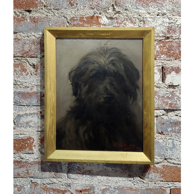 Black William Hardie Hay -Portrait of a Beautiful Black Terrier Dog -Oil Painting C.1911 For Sale - Image 8 of 8