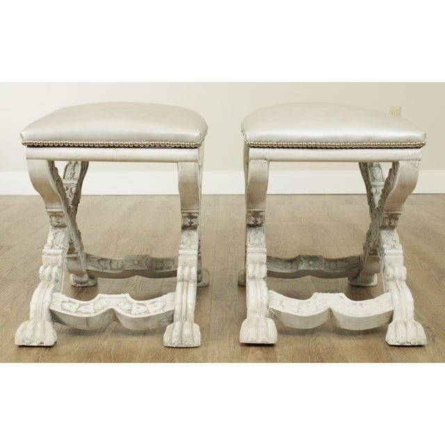 Italian Baroque Style Carved White Painted X Stools, Benches - a Pair For Sale In Philadelphia - Image 6 of 13