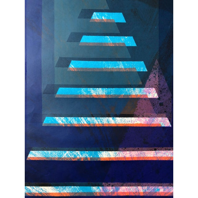 """Abstract 1970s Abstract Silkscreen """"Pyramid"""" j.h. Turner For Sale - Image 3 of 9"""