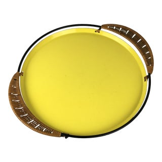 Laurids Lonborg Danish Modern Yellow Enamel Tray With Woven Reed Handles For Sale