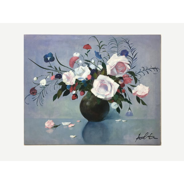 Vintage Mid-Century Flower Bouquet in Vase Painting For Sale - Image 4 of 4