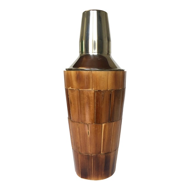 Vintage Bamboo Cocktail Shaker For Sale
