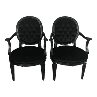 Modern Velvet French Chairs- A Pair For Sale