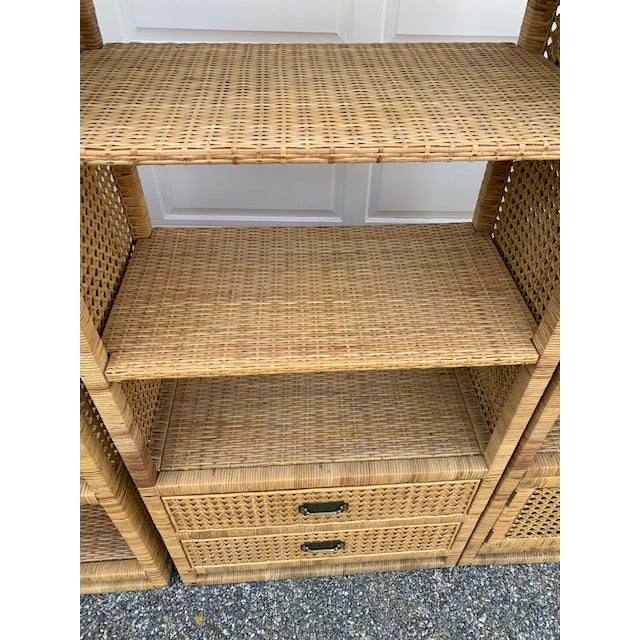 Metal 1970's Bielecky Style Rattan and Brass Bookshelves-Set of 3 For Sale - Image 7 of 13