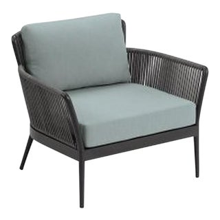 Outdoor Club Chair, Carbon and Sea Foam For Sale