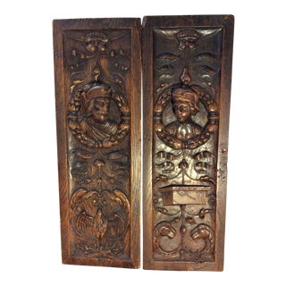 19th Century Italian Carved Panels - a Pair