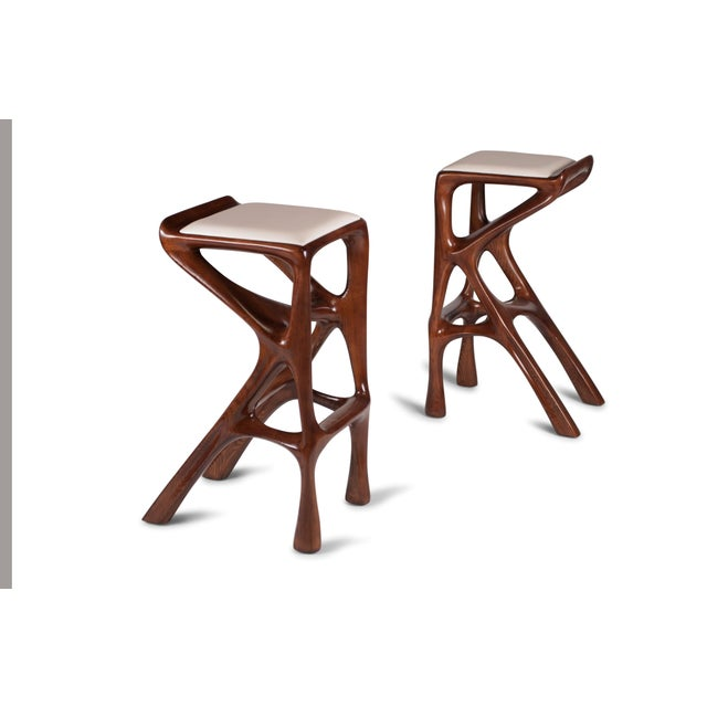 Amorph Chimera Bar Stool, Stained Walnut For Sale - Image 12 of 13