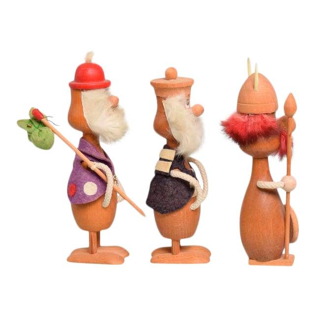 Mid-Century Danish Modern Wood Toys, Set of Three Vikings For Sale